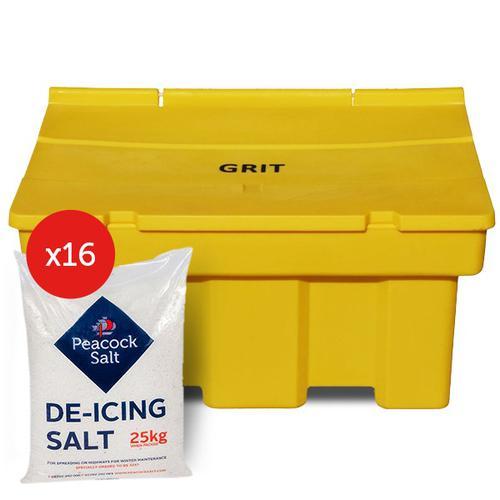 Winter Kit 2 containing 1 x 400kg GritBin & 16 x 25kg De-Icing Salt)