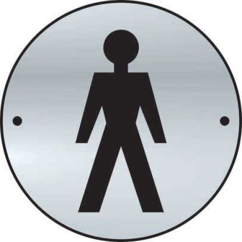 Gentlemen Graphic Door Disc made from 1.5mm thick satin anodised aluminium (SAA) (75mm diameter). Complete with screws.