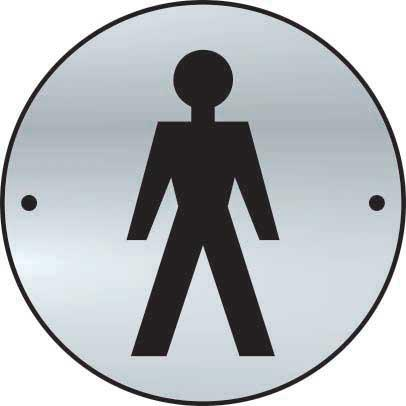 Gentlemen Sign made from stainless steel effect laminate (SSS) (75mm diameter). Complete with screws.