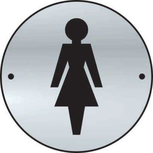 Ladies Graphic Door Disc made from 1.5mm thick satin anodised aluminium (SAA) (75mm diameter). Complete with screws.