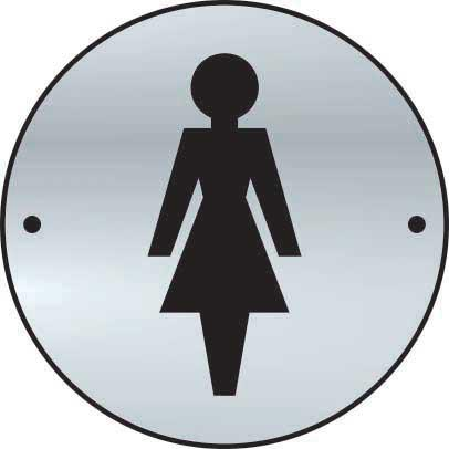Ladies Sign made from stainless steel effect laminate (SSS) (75mm diameter). Complete with screws.