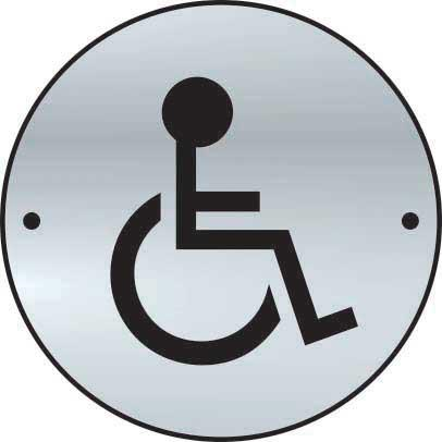 Disabled Sign made from stainless steel effect laminate (SSS) (75mm diameter). Complete with screws.