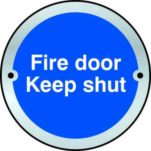 Fire Door Keep Shut Door Disc Sign made from 1.5mm thick satin anodised aluminium (SAA) (75mm diameter). Complete with screws.