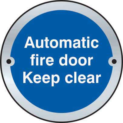 Automatic Fire Door Keep Clear Door Disc Sign made from stainless steel effect laminate (SSS) (75mm diameter). Complete with screws.