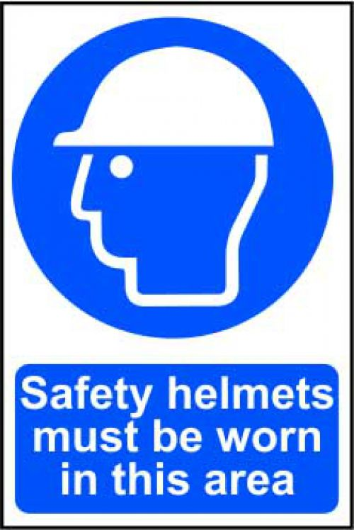 Self adhesive semi-rigid PVC Safety Helmets Must Be Worn In This Area Sign (400 x 600mm). Easy to fix; peel off the backing and apply.