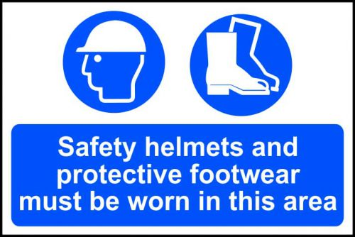 Self adhesive semi-rigid PVC Safety Helmets And Protective Footwear Must Be Worn In This Area Sign (600 x 400mm). Easy to fix