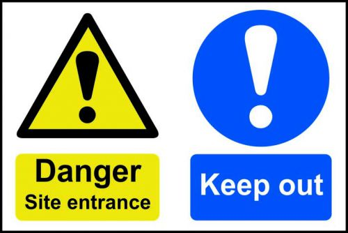 Self adhesive semi-rigid PVC Danger Site Entrance Keep Out Sign (600 x 400mm). Easy to fix; peel off the backing and apply to a clean and dry surface.
