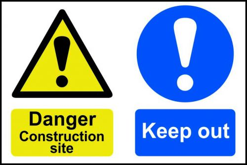 Spectrum Industrial Danger Construction Site S/A PVC Sign 600x400mm 4005