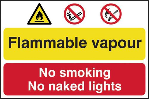 Flammable Vapour/No Smoking Or Naked Lights' Sign; Self-Adhesive Semi-Rigid PVC (600mm x 400mm)