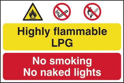 Highly Flammable LPG No Smoking Or Naked Lights' Sign; Self-Adhesive Semi-Rigid PVC (600mm x 400mm)