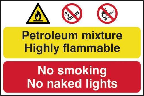 Petroleum Mixture No Smoking' Sign; Self-Adhesive Semi-Rigid PVC (600mm x 400mm)