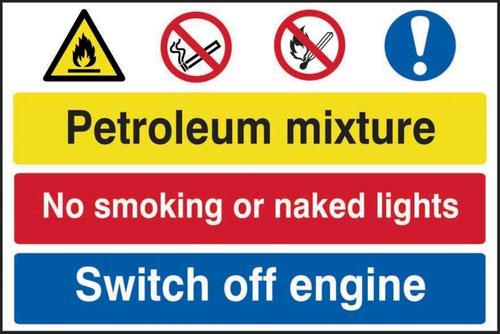 Petroleum Mixture No Smoking Switch Off Engine' Sign; Self-Adhesive Semi-Rigid PVC (600mm x 400mm)