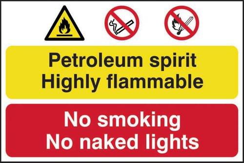Petroleum Spirit No Smoking Or Naked Lights' Sign; Self-Adhesive Semi-Rigid PVC (600mm x 400mm)