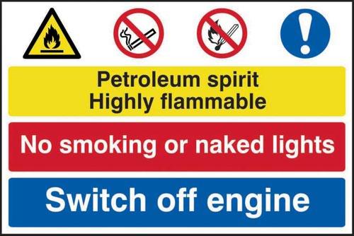 Petroleum Spirit No Smoking Switch Off Engine' Sign; Self-Adhesive Semi-Rigid PVC (600mm x 400mm)