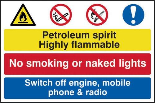 Petroleum Spirit No Smoking Switch Off Engine; Mobile' Sign; Self-Adhesive Semi-Rigid PVC (600mm x 400mm)