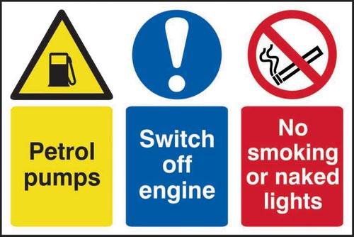 Petrol Pumps Switch Off Engine No Smoking' Sign; Self-Adhesive Semi-Rigid PVC (600mm x 400mm)