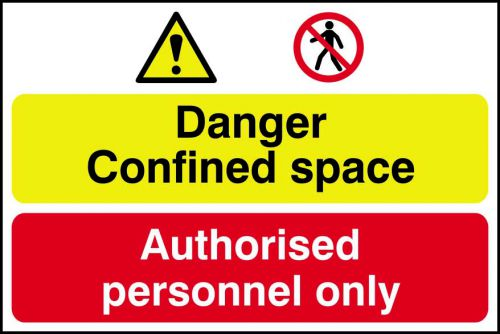 Self adhesive semi-rigid PVC Danger Confined Space/Authorised Personnel Only Sign (600 x 400mm). Easy to fix; peel off the backing and apply.
