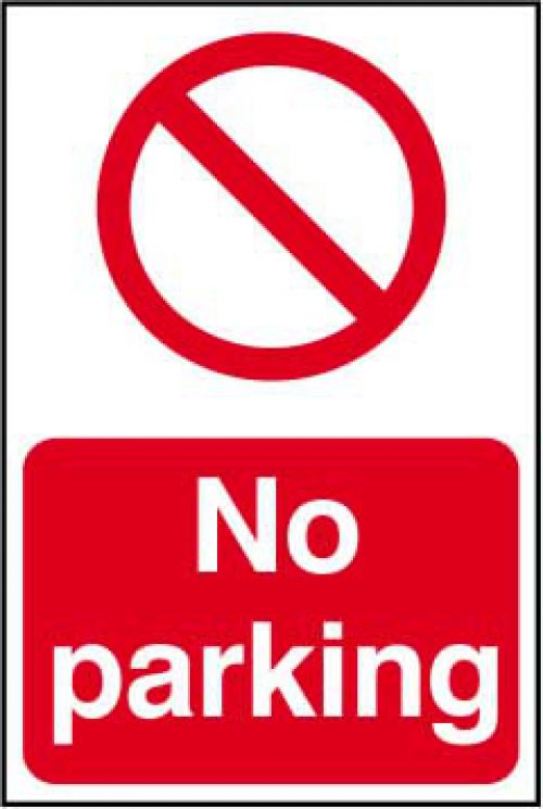 Self adhesive semi-rigid PVC No Parking Sign (400 x 600mm). Easy to fix, simply peel off the backing and apply to a clean, dry surface.