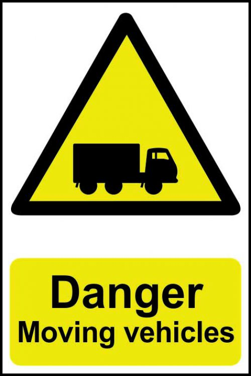 Self adhesive semi-rigid PVC Danger Moving Vehicles Sign (400 x 600mm). Easy to fix; peel off the backing and apply to a clean and dry surface.