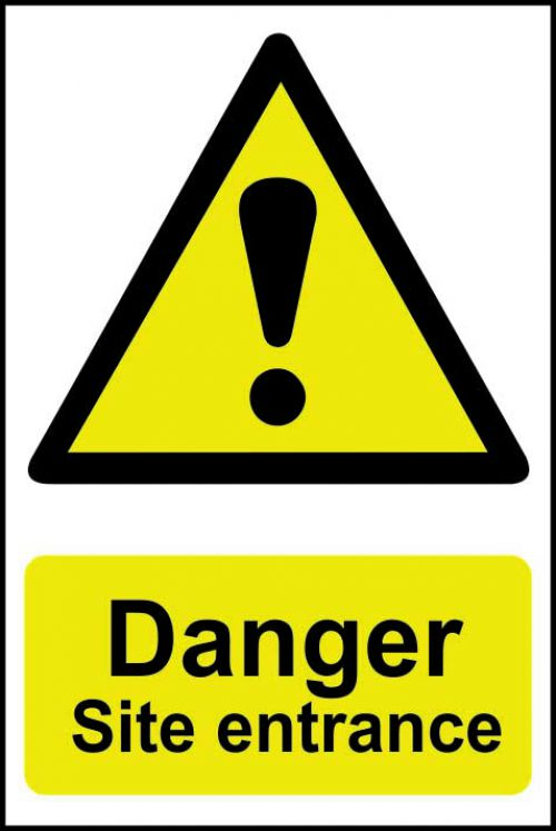 Spectrum Industrial Danger Site Entrance S/A PVC Sign 400x600mm 4102