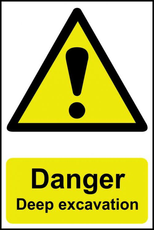 Self adhesive semi-rigid PVC Danger Deep Excavation Sign (400 x 600mm). Easy to fix; peel off the backing and apply to a clean and dry surface.