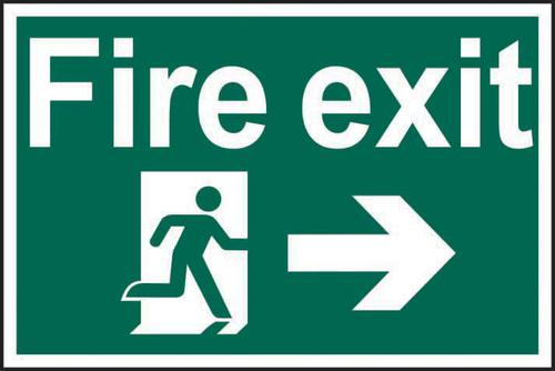 Self ad. semi-rigid PVC Fire Exit Man Running Arrow Right sign (600 x 400mm). Easy to fix; peel off the backing and apply to a clean and dry surface.