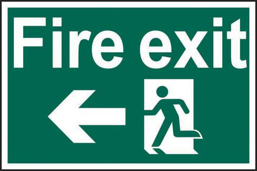 Self ad. semi-rigid PVC Fire Exit Man Running Arrow Left sign (600 x 400mm). Easy to fix; peel off the backing and apply to a clean and dry surface.