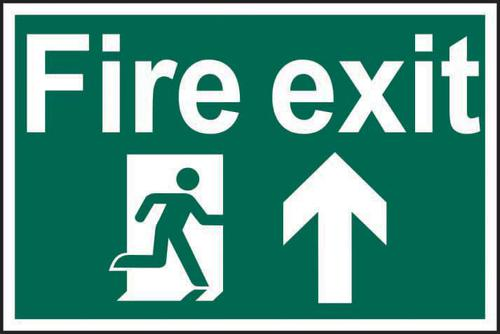 Self ad. semi-rigid PVC Fire Exit Man Running Arrow Up sign (600 x 400mm). Easy to fix; peel off the backing and apply to a clean and dry surface.