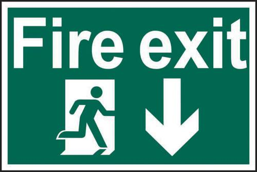 Self ad. semi-rigid PVC Fire Exit Man Running Arrow Down sign (600 x 400mm). Easy to fix; peel off the backing and apply to a clean and dry surface.