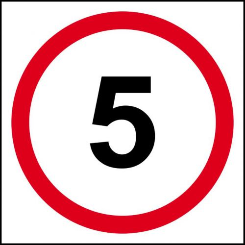 5MPH Speed Limit Sign (400 x 400mm). Manufactured from strong non-adhesive rigid foamed PVC (3mm Foamex board).