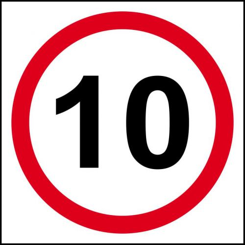 10MPH Speed Limit Sign (400 x 400mm). Manufactured from strong non-adhesive rigid foamed PVC (3mm Foamex board).
