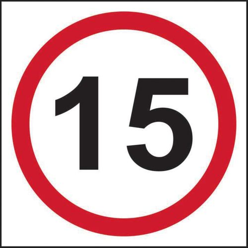 15mph Speed Limit' Sign; 3mm Foamed PVC Board (400mm x 400mm)