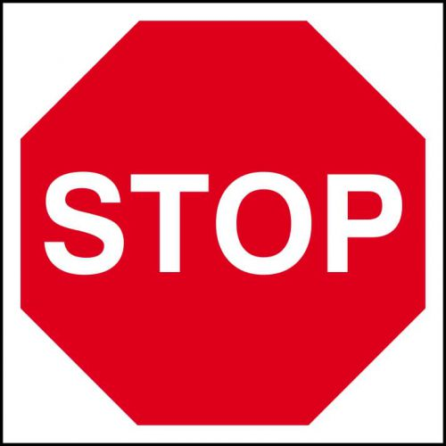Stop Sign (400 x 400mm). Manufactured from strong non-adhesive rigid foamed PVC (3mm Foamex board).