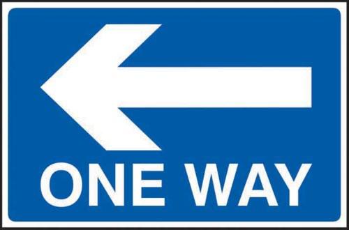 One Way Arrow Left' Sign; 3mm Foamex PVC Board (600mm x 400mm)
