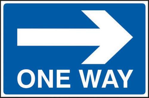 One Way Arrow Right' Sign; 3mm Foamex PVC Board (600mm x 400mm)