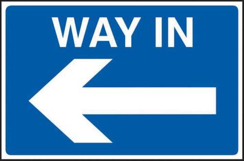 Way In Arrow Left' Sign; 3mm Foamex PVC Board (600mm x 400mm)