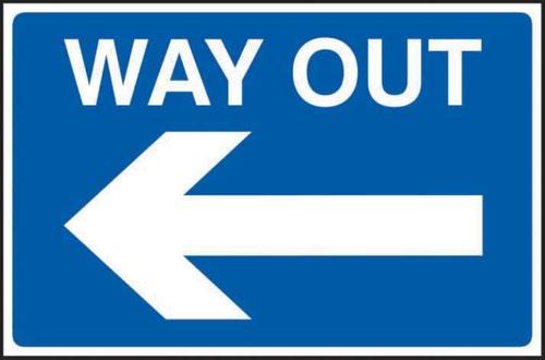 Way Out Arrow Left' Sign; 3mm Foamex PVC Board (600mm x 400mm)