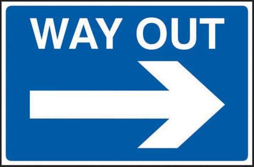 Way Out Arrow Right' Sign; 3mm Foamex PVC Board (600mm x 400mm)