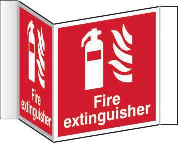 Fire Extinguisher Projection Sign (200mm face). Manufactured from strong rigid PVC and is non-adhesive; 0.8mm thick.