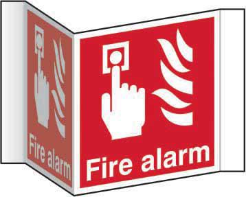 Fire Alarm Projection Sign (200mm face). Manufactured from strong rigid PVC and is non-adhesive; 0.8mm thick.