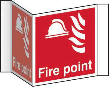 Fire Point Projection Sign (200mm face). Manufactured from strong rigid PVC and is non-adhesive; 0.8mm thick.