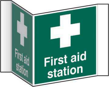First Aid Station Projection Sign (200mm face). Manufactured from strong rigid PVC and is non-adhesive; 0.8mm thick.