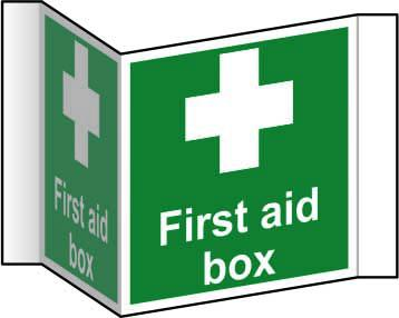 First Aid Box Projection Sign (200mm face). Manufactured from strong rigid PVC and is non-adhesive; 0.8mm thick.