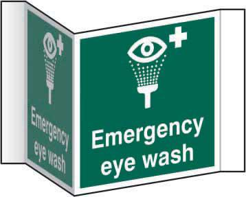 Emergency Eyewash Projection Sign (200mm face). Manufactured from strong rigid PVC and is non-adhesive; 0.8mm thick.