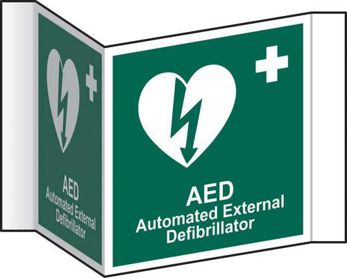 Automatic External Defibrillator Projection Sign (200mm face). Manufactured from strong rigid PVC and is non-adhesive; 0.8mm thick.