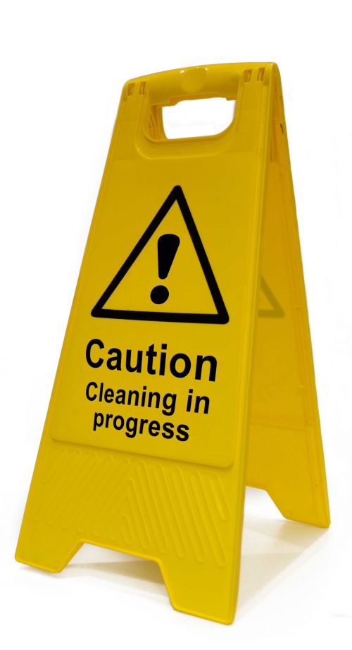 Caution Clean In Progress Heavy Duty A Board made from polypropylene and are printed on both sides. Size 620 x 300 x 450mm