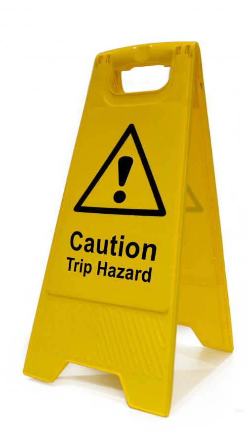 Caution Trip Hazard Heavy Duty A Board made from polypropylene and are printed on both sides. Size 620 x 300 x 450mm