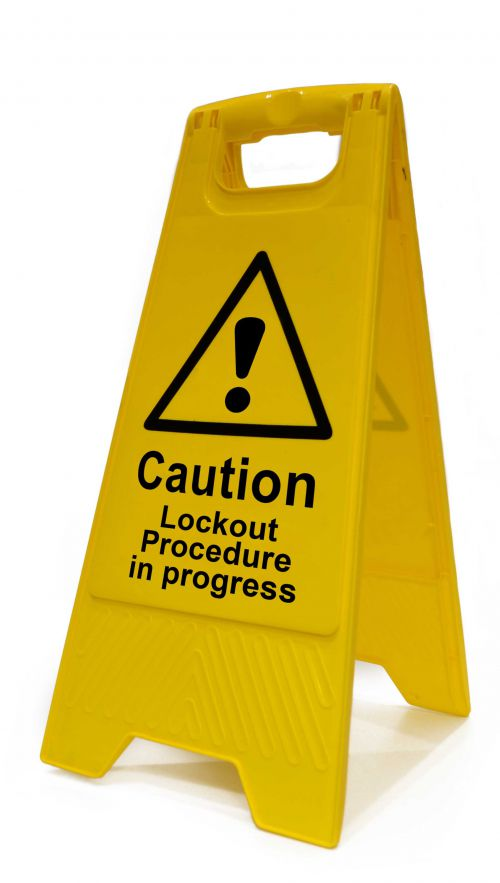 Caution Lockout Procedure In Progress Heavy Duty A Board made from polypropylene and are printed on both sides. Size 620 x 300 x 450mm