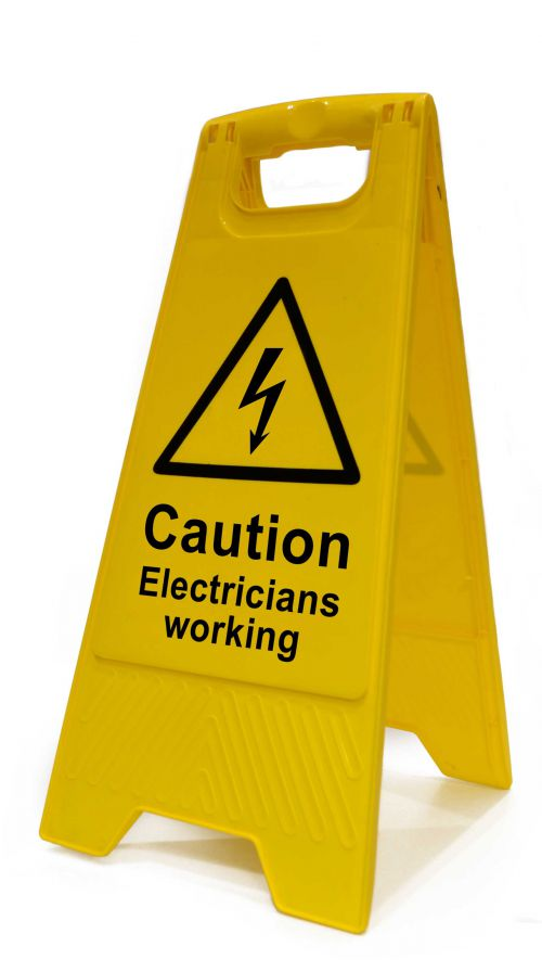 Caution Electricians Working Heavy Duty A Board made from polypropylene and are printed on both sides. Size 620 x 300 x 450mm