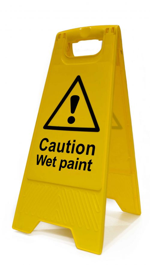 Caution Wet Paint Heavy Duty A Board made from polypropylene and are printed on both sides. Size 620 x 300 x 450mm